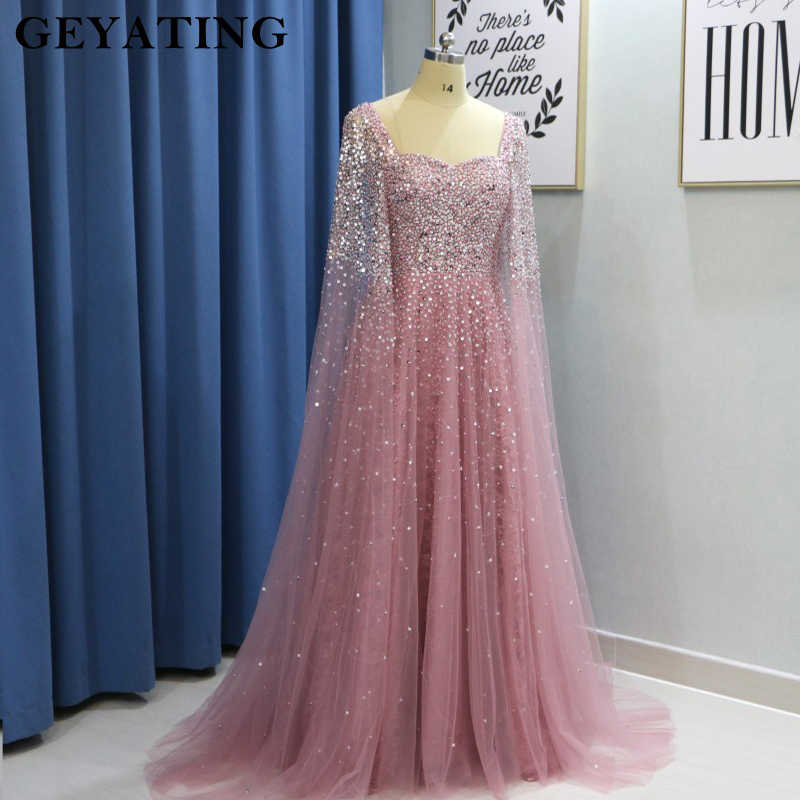 85d28360609d3 Dubai Women Evening Dresses Plus Size 2019 Luxury Pink Beaded Crystal  Arabic Prom Dress with Cape Champagne Green Formal Gowns