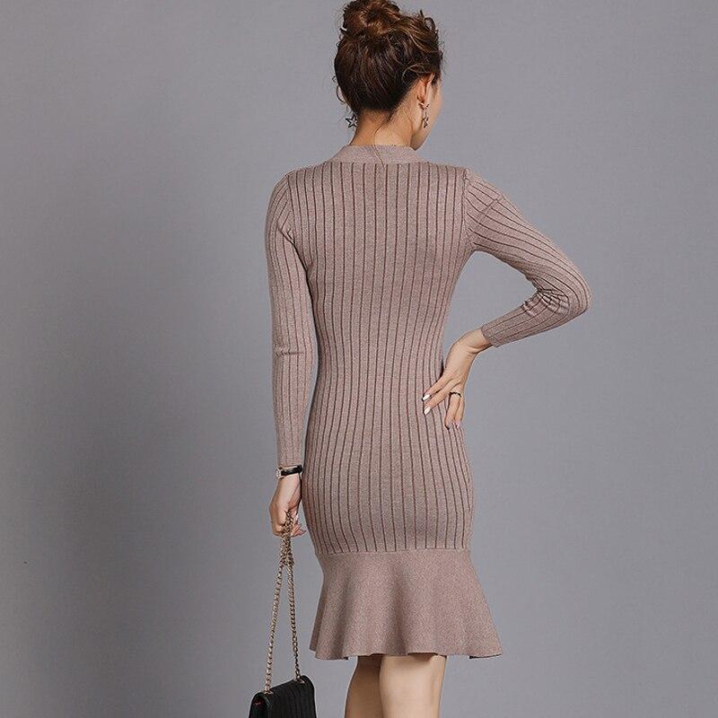 fa9ec6a30ffd7 ... 2018 New Arrivals Ruffle Sweater Dress Women Autumn Winter Long Sleeve  Bodycon Dresses Ladies Knee- ...