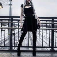 Newest Punk Style Women Dress Gothic Summer Casual Black Streetwear Sexy Pleated Hollow Off Short Sleeve Mini Dresses