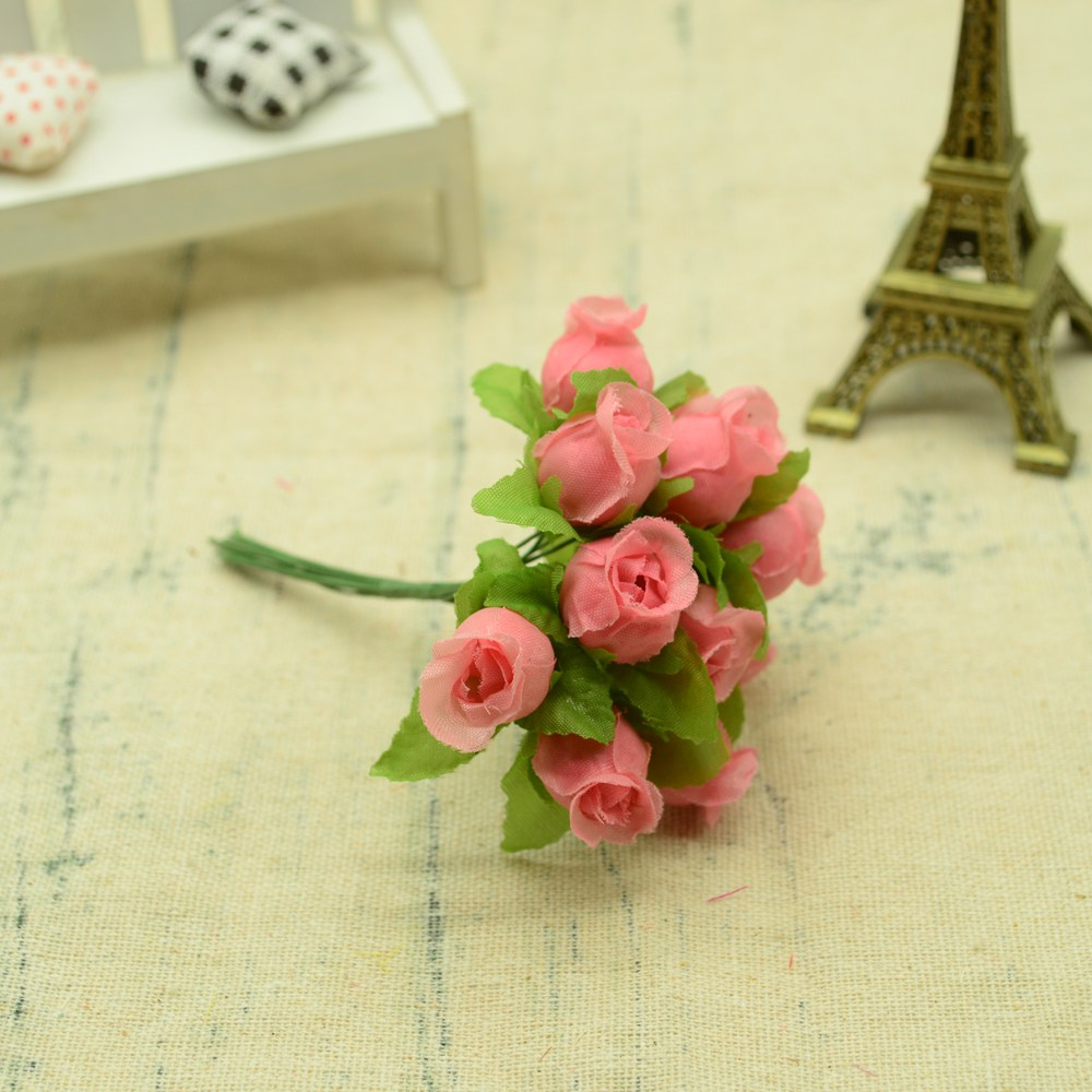 12pcs Silk Roses Artificial Flowers Bouquet for Home And Wedding Decoration Accessories 21