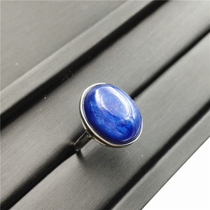 Image 2 - Natural Kyanite Ring Blue Cat Eye Healing Stone Oval Shape Anniversary Party AAAAA 16x14mm Woman Jewelry Luxury Adjustable Ring