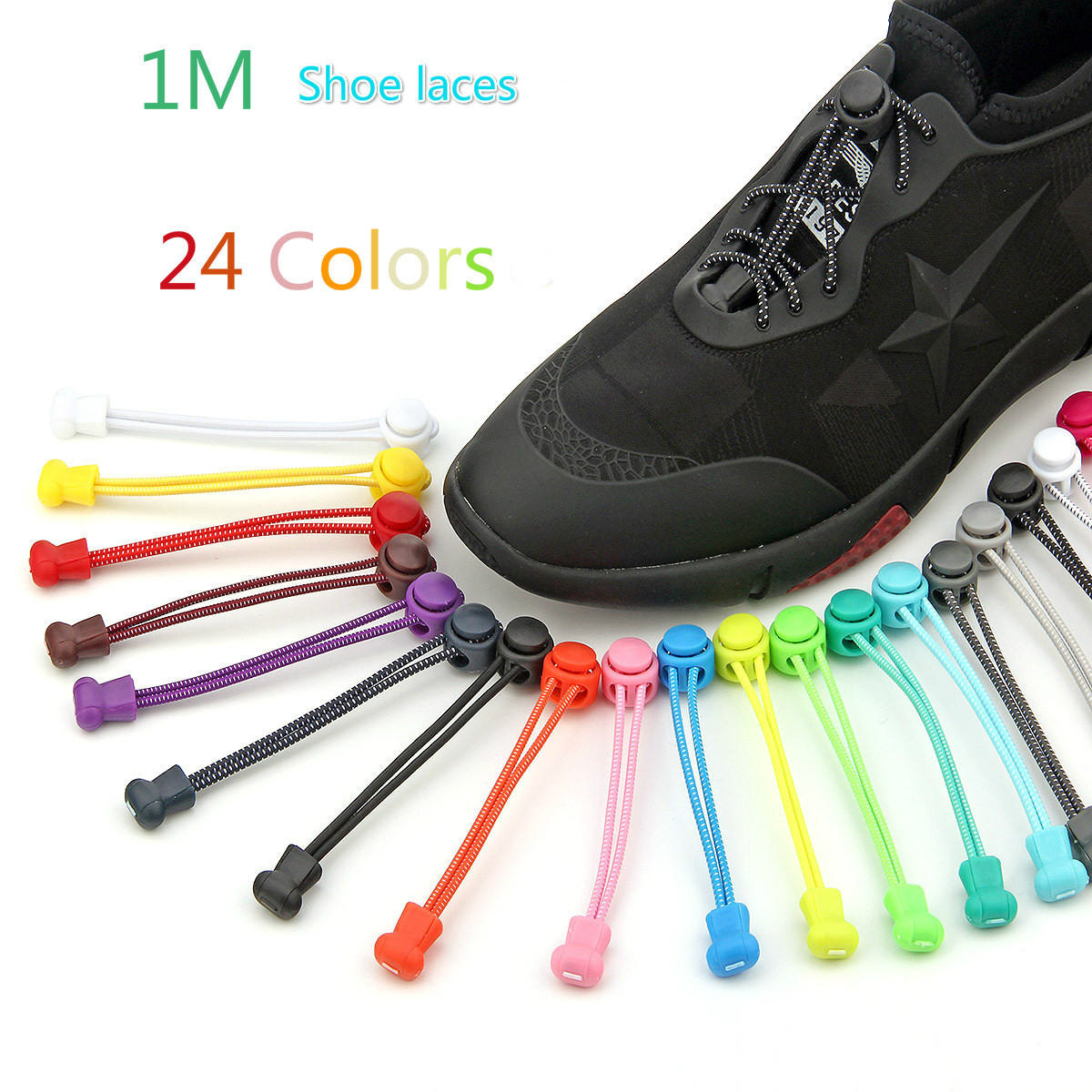 1M Convenient Silicone Shoelaces Lazy Unisex Polyester Solid No-tie Shoe Laces Causal Sports Shoes Elastic Sneakers Buckle Laces