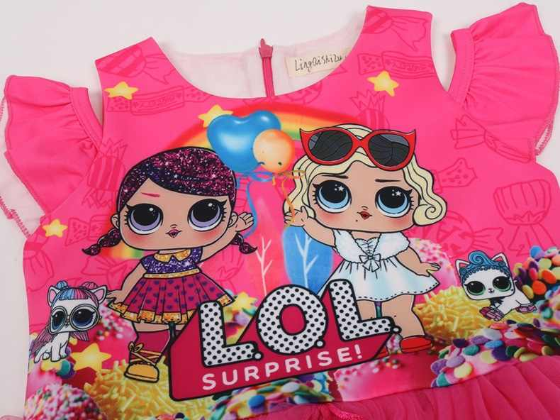 Новинка 2019 года; Забавное платье для девочек; детская сетчатая юбка с рисунком куклы; платье принцессы + сумка; комплект из 2 предметов