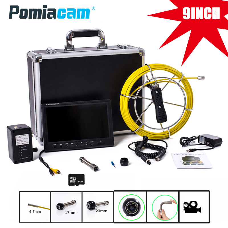 WP90 20M 30M 50M Industrial Pipeline Endoscope 6.5/17/23mm Snake Video Camera 9 LCD Sewer Drain Pipe Inspection Camera System wp90 6 5 17 23mm professional industrial endoscope 9 lcd 20m cable pipeline inspection camera system sewer snake video camera