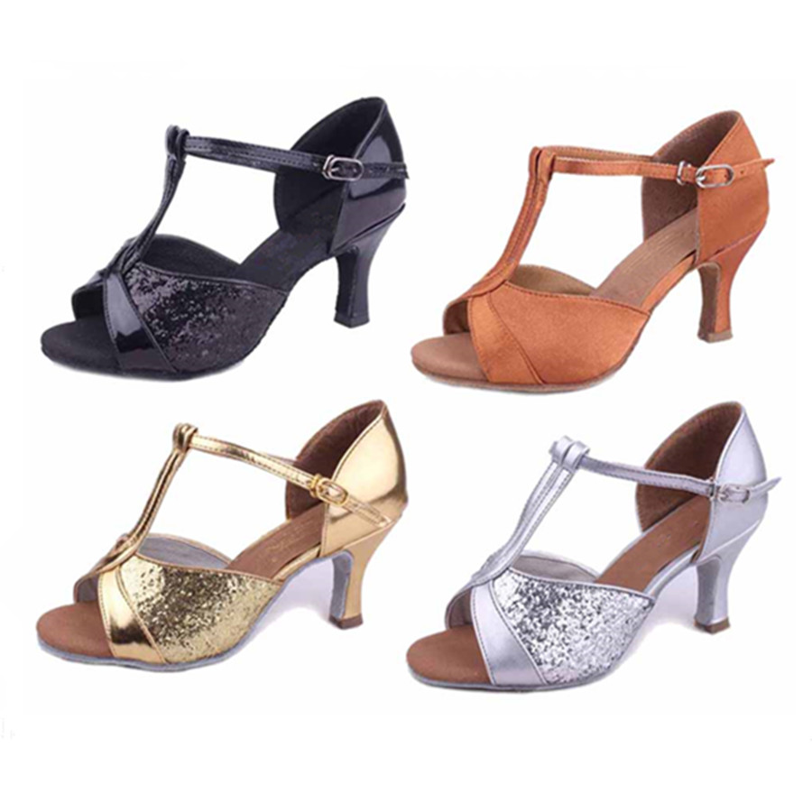 Pu satin latin dance shoes woman ballroom dancing shoes - Zapatos de baile tenerife ...