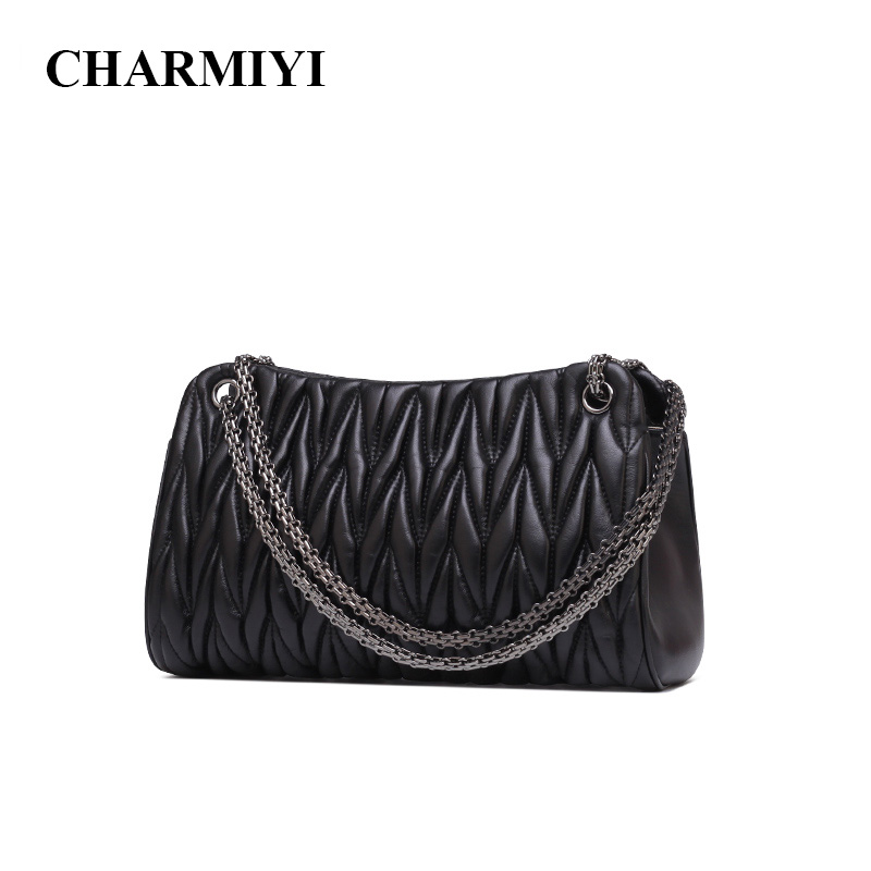 CHARMIYI Soft Genuine Leather Handbags for Women Fashion Folds Ladies Shoulder Messenger Bags Female Crossbody Bag Black Bag zency new women genuine leather shoulder bag female long strap crossbody messenger tote bags handbags ladies satchel for girls