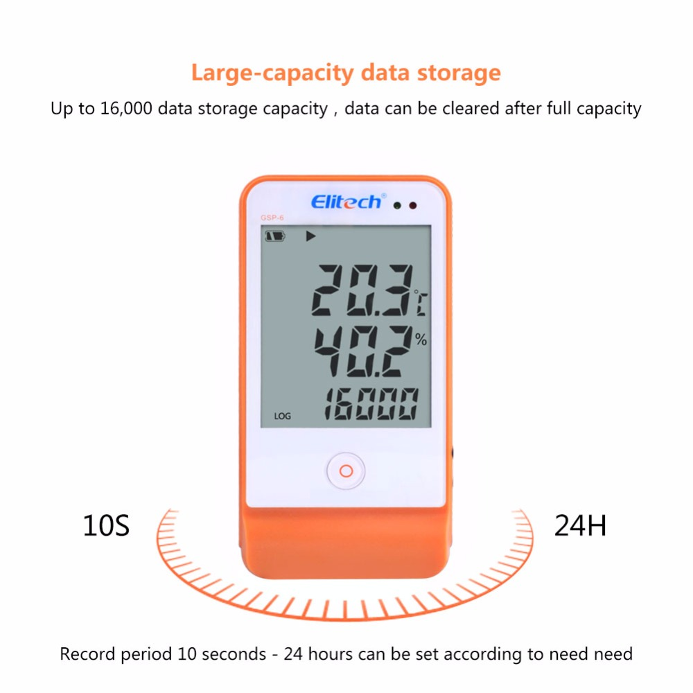 GSP 6 Large Screen Digital USB Temperature Humidity Data Logger High Precision External Sensor for Warehouse Cold Storage