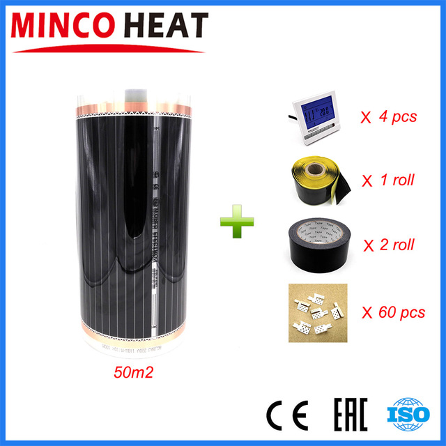 50m2 Energy efficient ground tatami heating film kit Warm floors electric infrared Wholesale and retail free