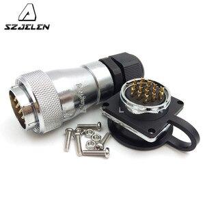 Image 2 - SZJELEN WF28 serie 16 pin Impermeabile connettore presa di corrente, montaggio a pannello, LED connettore del cavo