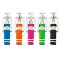5 colores Mini extensible Selfie Stick con cable remoto obturador monopié para todas las marcas teléfono móvil