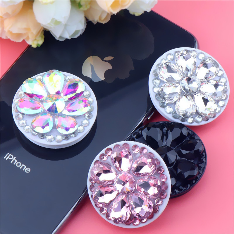 Crystal Diamond Mobile Phone Holder Fashion Round Finger Ring Stand For IphoneXS XR  8 7 6s Samsung  Xiaomi Bracket Mount