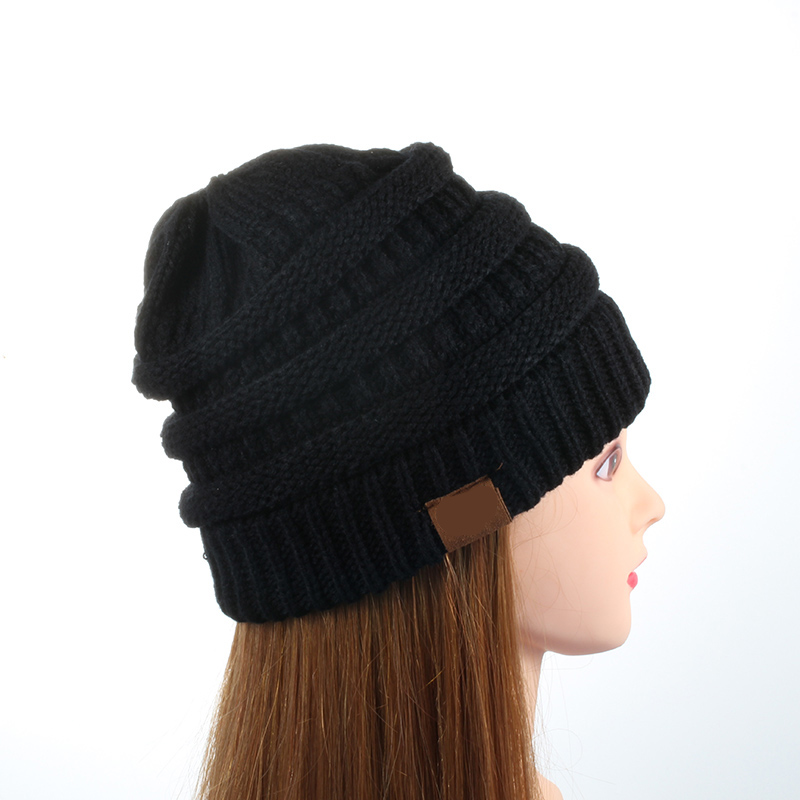Drop Shipping 25 Color   Beanie   Women Hat Cap   Skully   Trendy Warm Chunky Soft Stretch Cable Knit Slouchy   Beanie   Winter Hats Ski Cap