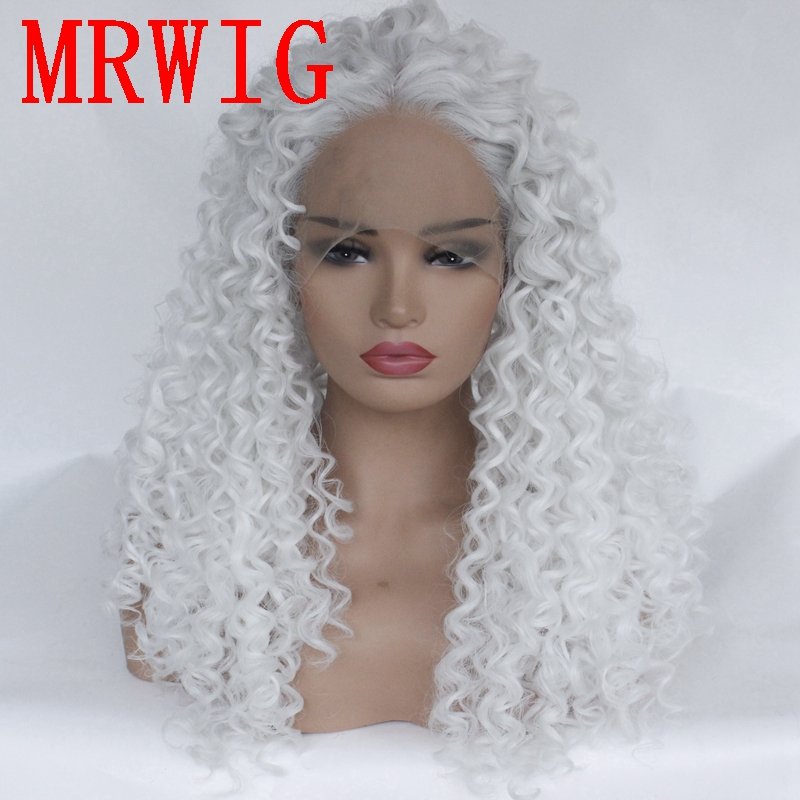 MRWIG White Hair Color Synthetic Kinky Curly Lace Front Wig Middle Part 26in 180%density Cosplay Hair Wig