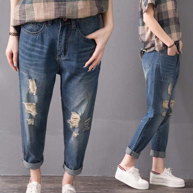 5a60a7fc1a823 32-42 PLUS Size NEW Summer Vintage Fashion Ripped Hole Roll Up Jeans Women  Ladies