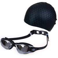 Waterproof Silicone Waterdrop Swimming Cap Hat Swim Pool Outdoor Water Sport Anti Fog Goggles Eyewear Glasses
