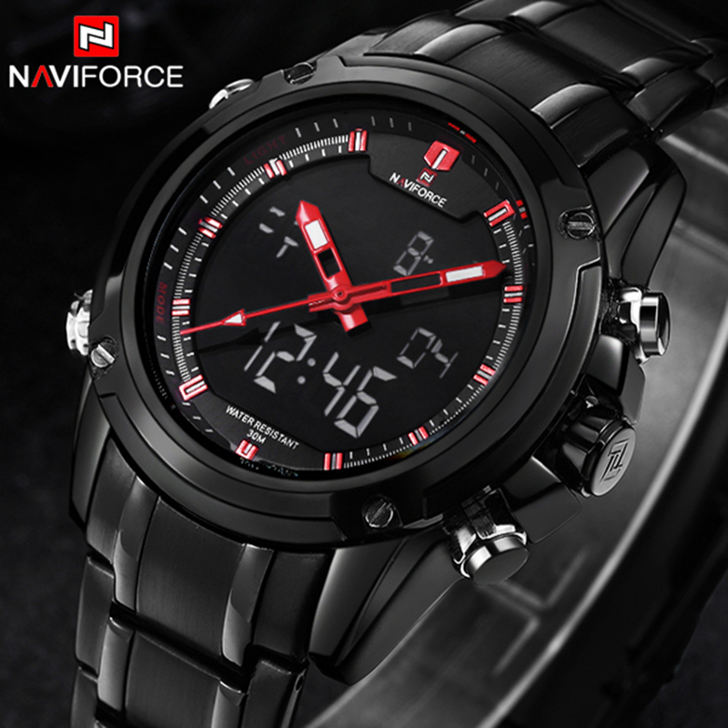 NAVIFORCE Sport Men Watch Full Steel Waterproof Mens Watches Top Brand luxury Military Quartz Wristwatch relogio masculino Clock top brand luxury watch men full stainless steel military sport watches waterproof quartz clock man wrist watch relogio masculino