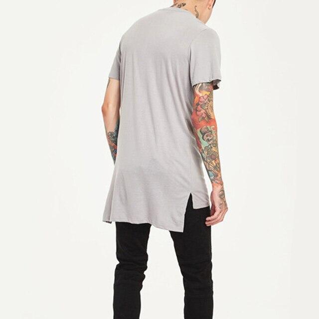 Одежда в стиле хип-хоп Мужская Повседневная Длинная футболка с асимметричным подолом удлиненные футболки с разрезом сбоку однотонные черные уличная футболка