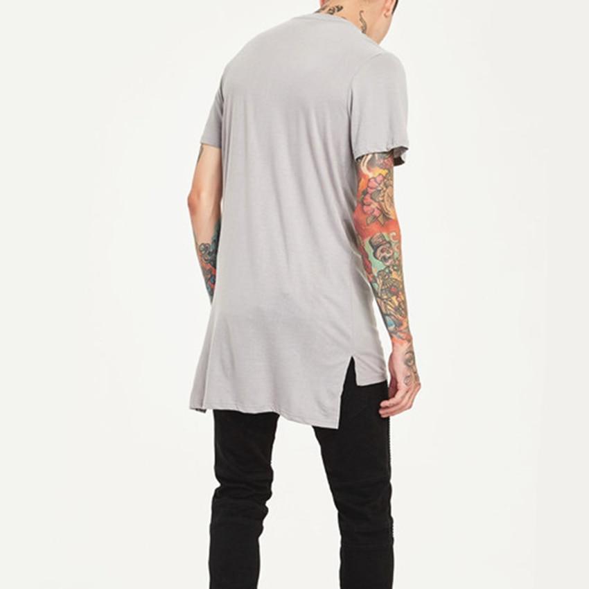 Estilo hip hop roupas dos homens casual longo t camisa irregular hem comprimento estendido tees lado dividir sólido preto streetwear topos t