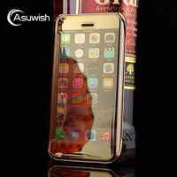 Luxury Slim Electroplating Hard Mirror Flip Cover Clear View Transparent Phone Case For Apple IPhone 5