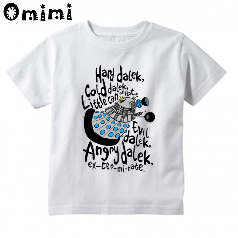Kids Doctor Who Letter Design T Shirt Boys and Girls Great Casual Short Sleeve Tops Childrens Funny T-Shirt