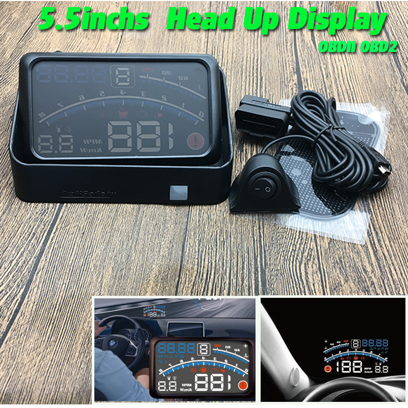 New 4E 5.5 Inches Car OBD2 II EUOBD Car HUD Head Up Display With Bracket Car Overspeed Warning System 4E HUD Car blue white