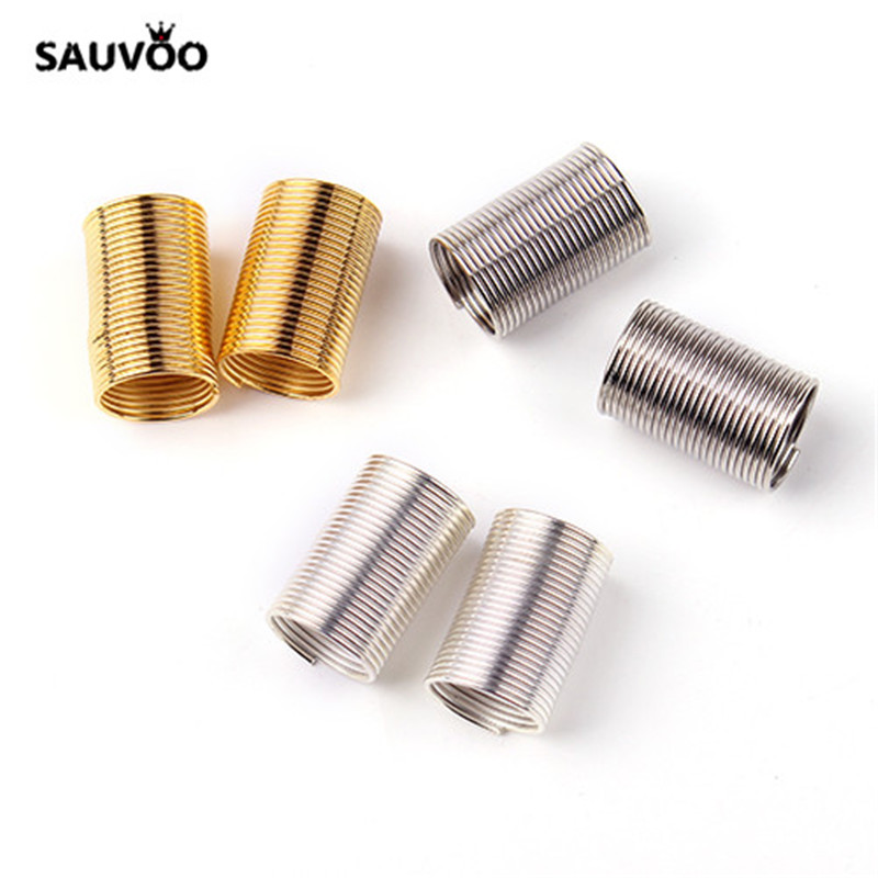 SAUVOO 50pcs/lot Gold Color Metal Beads Spring Coil Wire Tube with 8.5MM Big Hole for DIY Leather Cord Making Components F2024