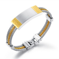 Gold Color Smooth Men S Bracelet 3 Rows Wire Chain Bracelets Bangles Fashion Punk 316L Stainless