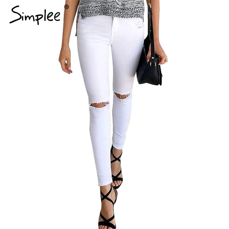 Compra blanco ripped jeans online al por mayor de china for Agujeros femeninos