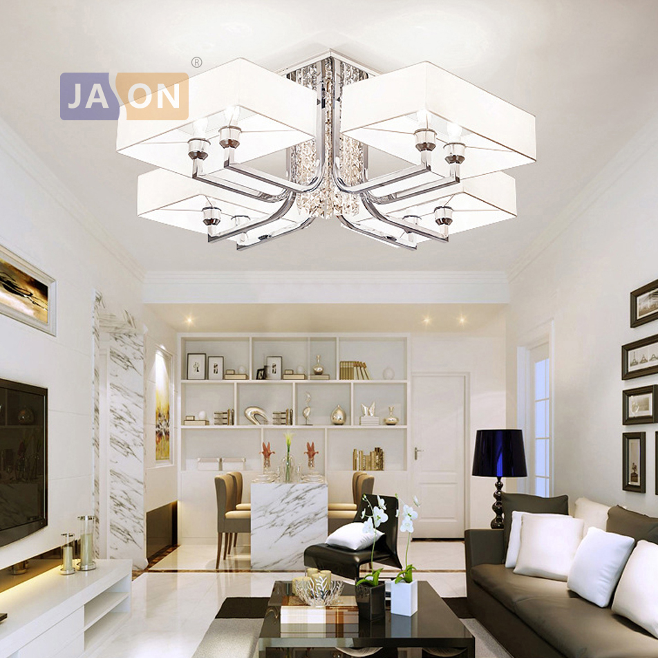 led e14 Postmodern Iron Crystal Fabric Chrome Chandelier Lighting Lamparas De Techo Suspension Luminaire Lampen For Foyer|Chandeliers| |  - title=