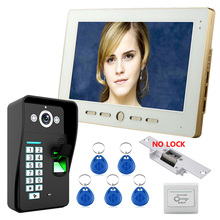 Mountainone Home 10″ LCD monitor Speakerphone Recognition RFID Password  Video Door Phone Intercom System kit With Door Lock
