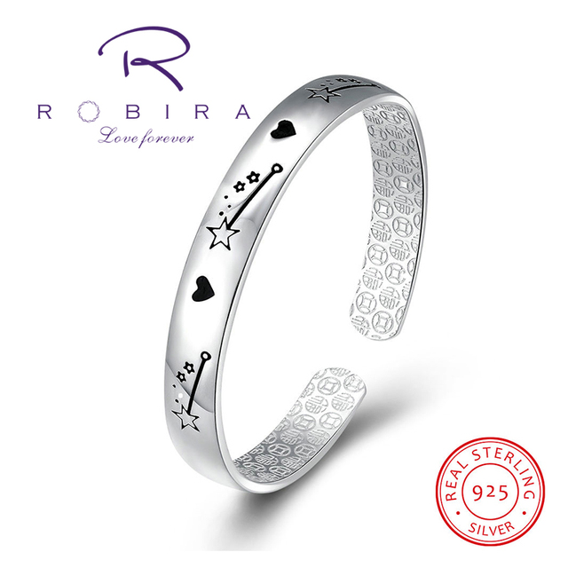 Robira 925 Sterling Silver Bangle Shooting Star Design Oil Drip Heart Cuff Bracelet For Women