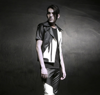 Spring Summer Autumn Men Leather Vest Motorcycle Rock Punk Coat Black And White Sleeveless Slim Fit