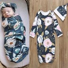Новые поступления, детское Пеленальное Одеяло для новорожденных, детский спальный мешок+ набор с шапочкой, 2 предмета, цветочные спальные мешки для детей 0-6 месяцев