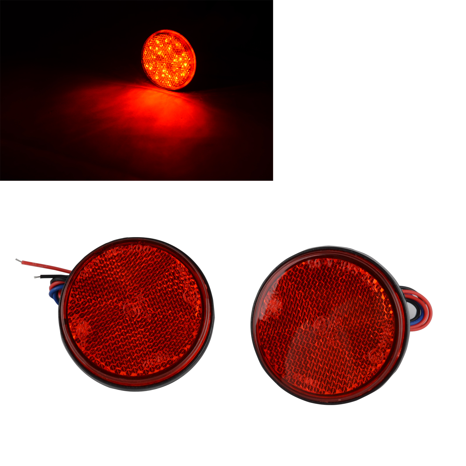 2x 12V Round Rear Turn Signal Brake Stop Tail Light Red LED Reflector Red Lens