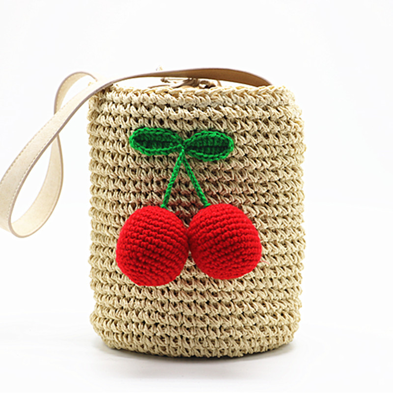 Badouqiu Cherry Pompon Summer Style Cylinders Handbags Bohemian Boho Indian Hair Straw Bag Thai Woven Beach Drop Shipping A4
