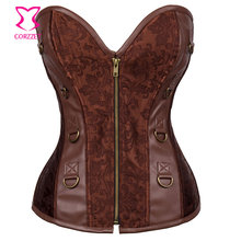 Corzzet Vintage Brown Steel Boned Zipper Overbust Corsets And Bustiers Waist Slimming Gothic Leather Steampunk Clothing