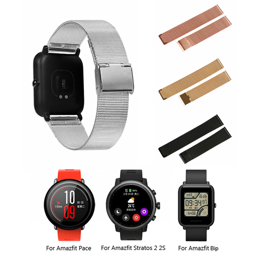 Metal Milanese Strap for Xiaomi Huami Amazfit Bip Watch Band 20MM 22MM Bracelet Belt for Amazfit Pace/Stratos 2 2S/GTR 47mm Rose