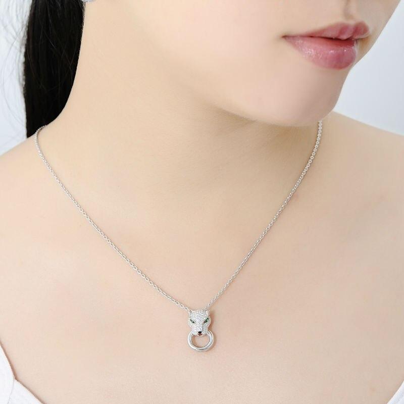 SANTUZZA argent ensemble de bijoux pour les femmes pur 925 en argent Sterling à la mode panthère anneau boucles d'oreilles pendentif ensemble blanc CZ bijoux de mode - 6