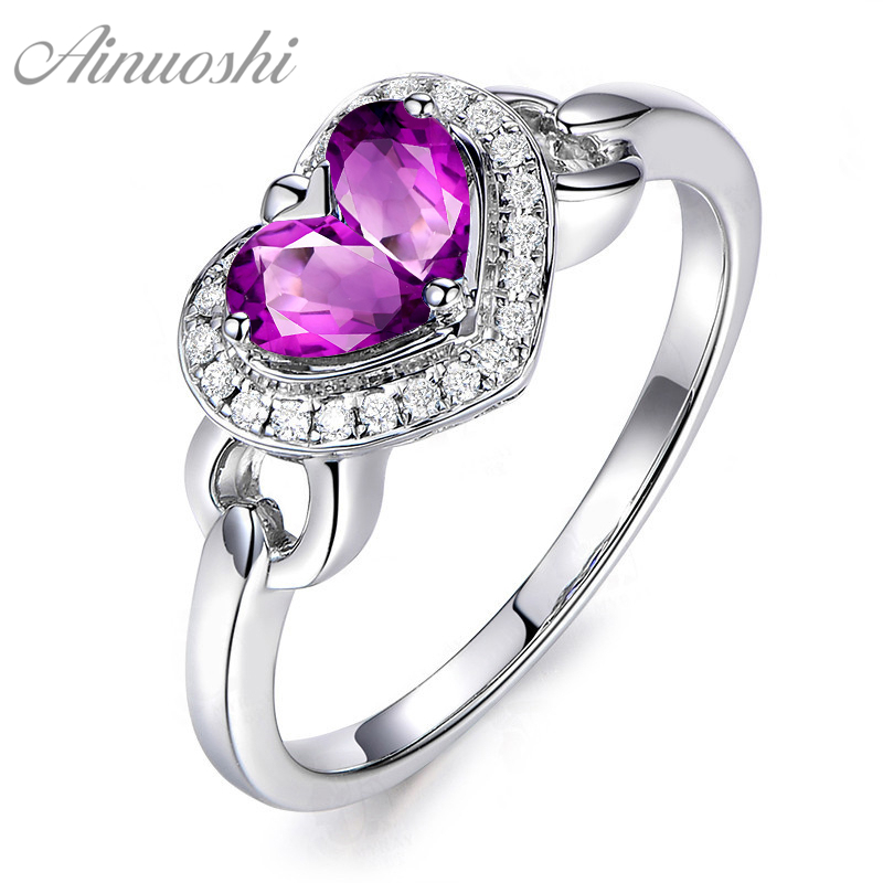 AINUOSHI Natural Amethyst Heart Halo Ring 1ct Pear Cut Gem Pure 925 Silver Heart Ring Trendy Engagement Party Jewelry Women RingAINUOSHI Natural Amethyst Heart Halo Ring 1ct Pear Cut Gem Pure 925 Silver Heart Ring Trendy Engagement Party Jewelry Women Ring