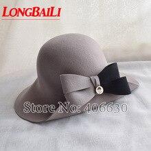 Winter Elegant Grey Women Bow Wool Felt Fedora Hats Wide Brim Chapeu Feminino Free Shipping SWDW018