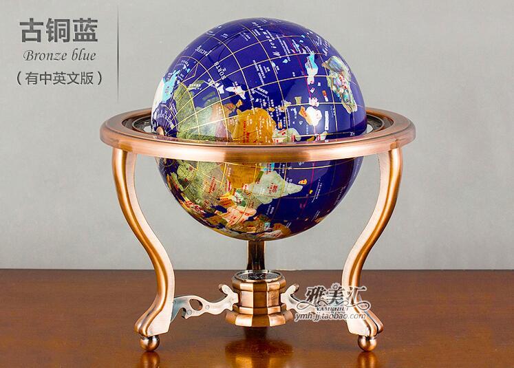 Pierre gemme Globe terre 220mm boule monde Globe carte du monde Support en métal, vaut la peine d'acheter