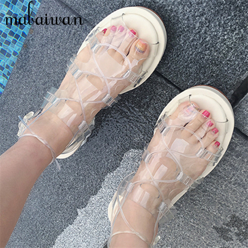 Summer Style Transparent PVC Sandals Lace Up Casual Flats Gladiator Comfortable Jelly Shoes Woman Cool Beach Sandal gladiator sandals 2017 summer style comfort flats casual creepers platform pu shoes woman casual beach black sandals plus us 8