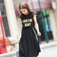 2016 Latest Fashion Kids Summer Teen Girls Sleeveless T Shirt Letters For Children Age 4 5