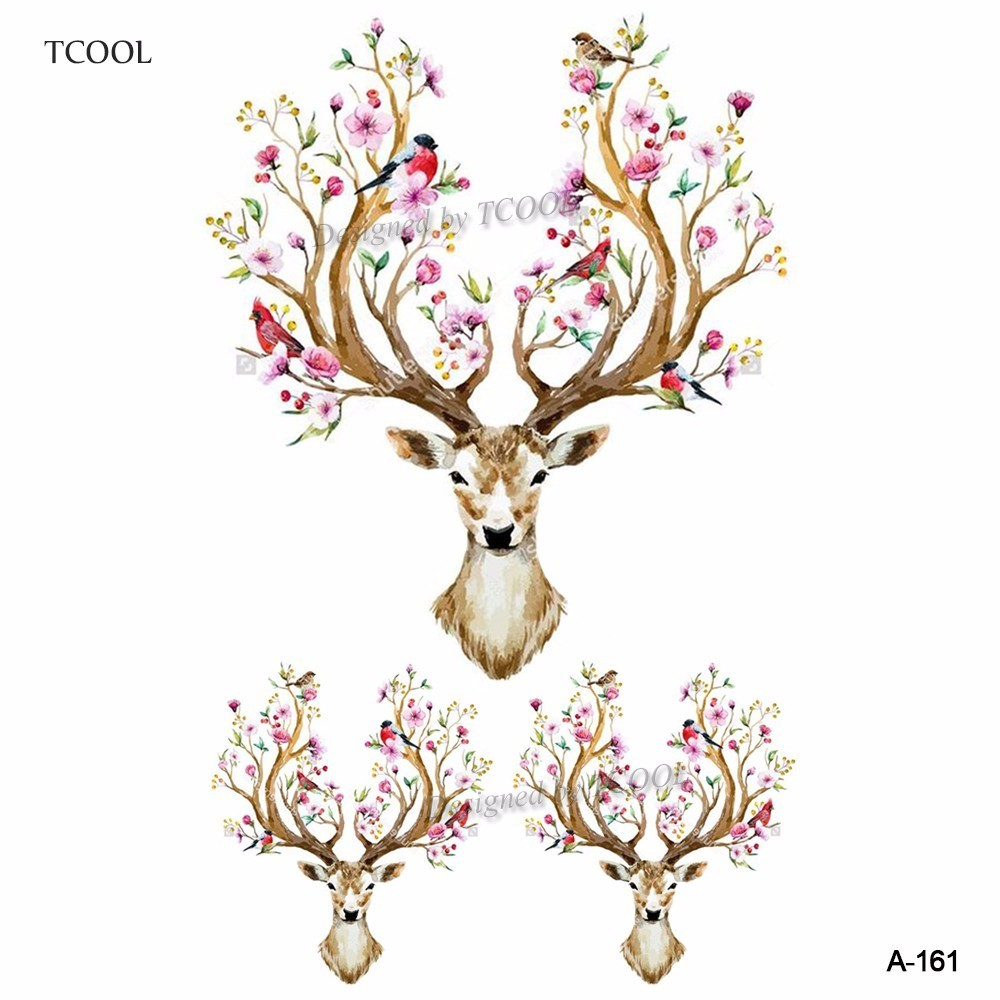 HXMAN Deer Head Watercolor Animal Temporary Tattoo Waterproof Women Fake Body Art Kids Hand Tattoos Hot Design 9.8X6cm A-161