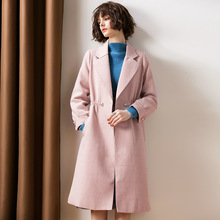 Turn down collar a line long wool coats 2018 new wome autumn winter plaid