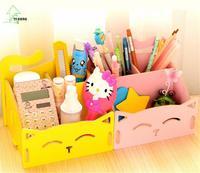 YIHONG Mobiliário Doméstico gato bonito caixa de caneta caixa de armazenamento de desktop detritos cosméticos organizador caixa de madeira montagem A1011