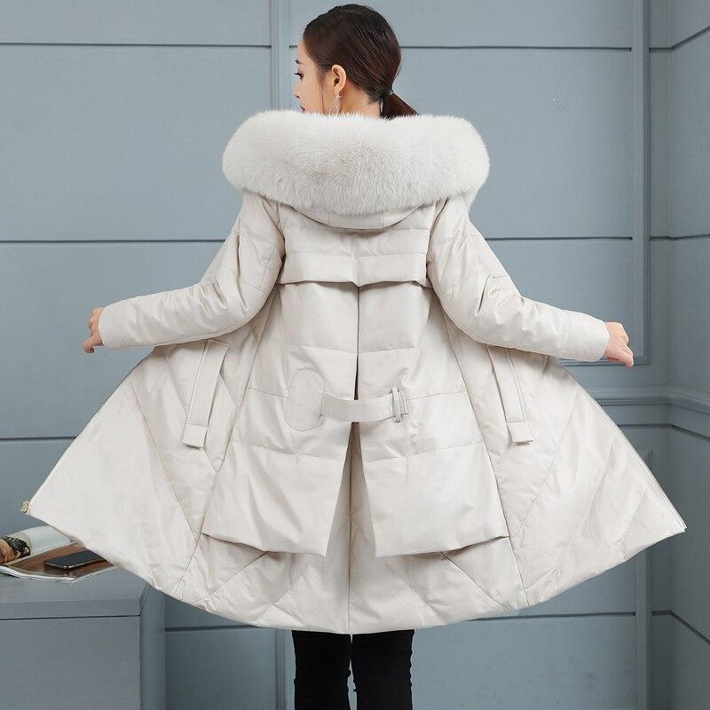 D'hiver Moutons Renard Bas Nouveau À Veste Long En De Le Capuchon Feminino Survêtement Beige Femmes Vers 2018 Parka Mode Cuir Fourrure XiPkuOZwT