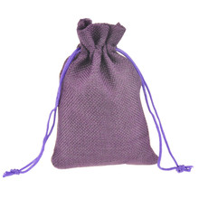 9.5x13.5cm Custom Printed Jute Drawstring Gift jewelry package bag Stylish Natural Burlap with Nylon Drawstring Reusable