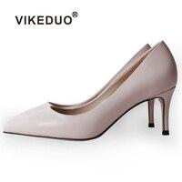 VIKEDUO/женские модные туфли лодочки, коллекция 2019 года, летние однотонные туфли на высоком каблуке, женские свадебные туфли из натуральной кож