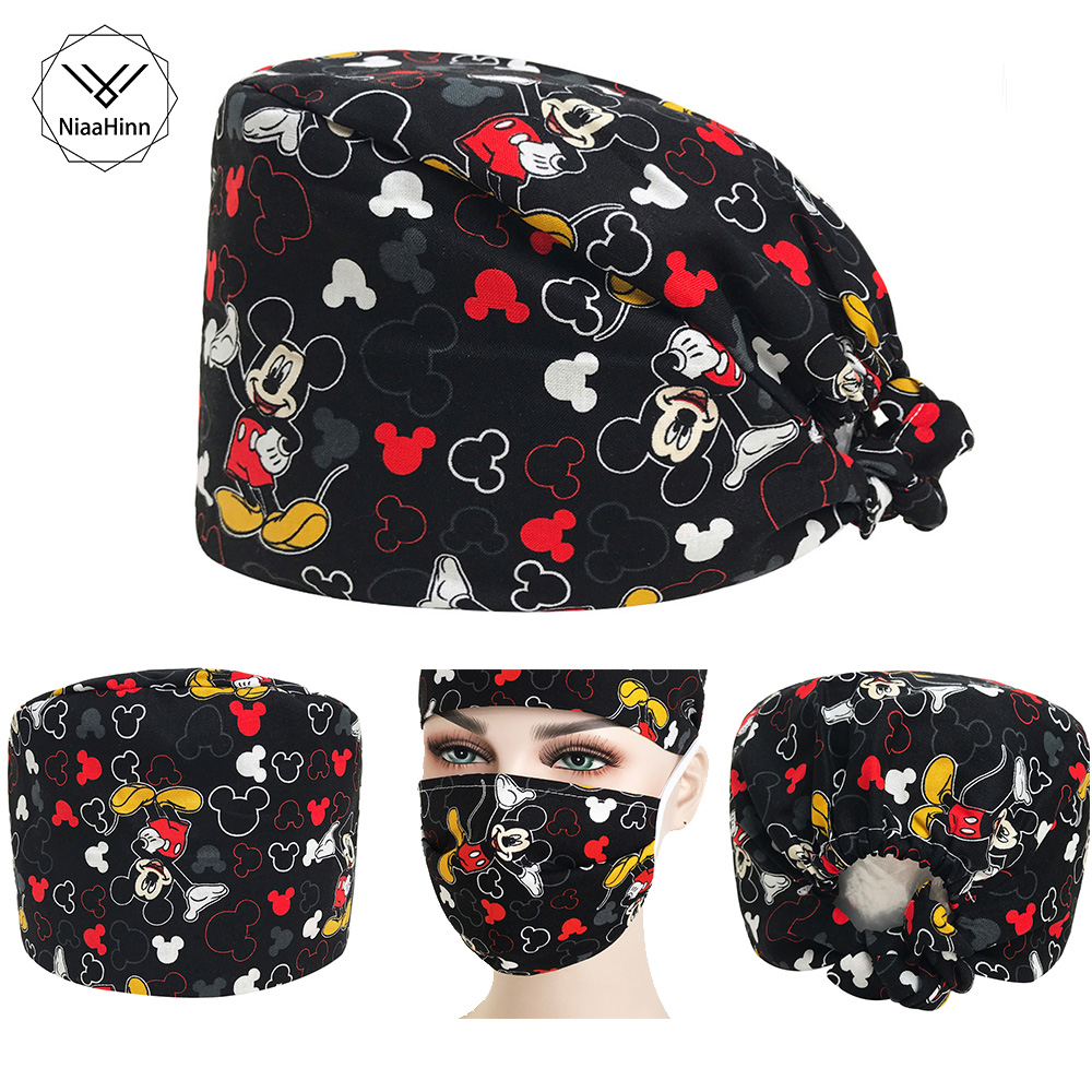 Black Mice Print Surgical Caps Nursing Work Hat Medical Scrub Cap Adjustable Dentist Working Hats And Mask Factory Delivery